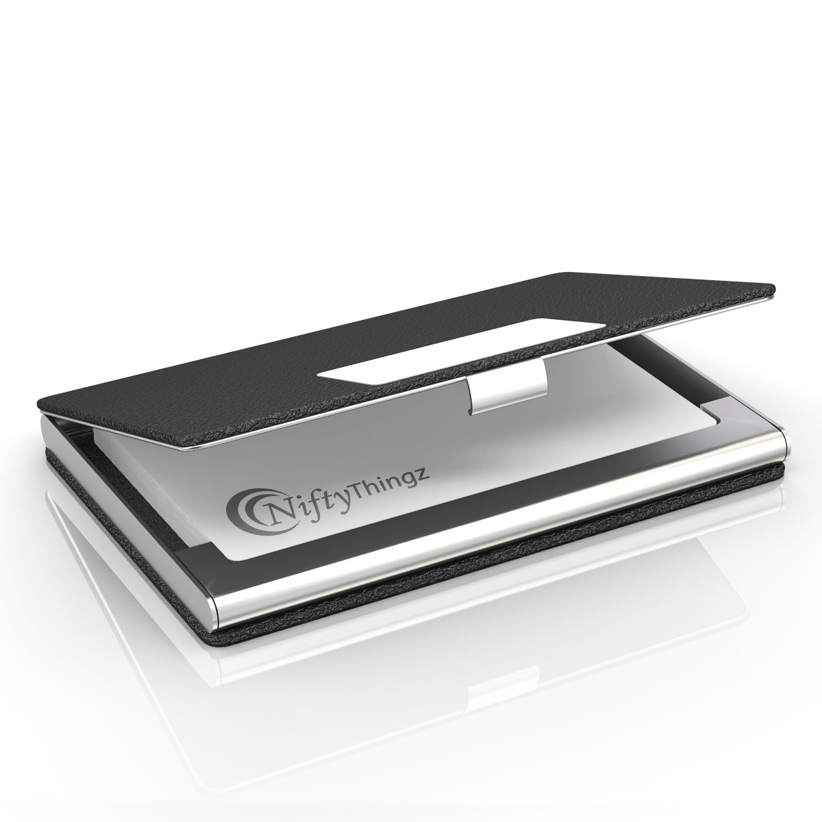 Business Name Card Holder, Luxury Leather & Stainless Steel Multi ...