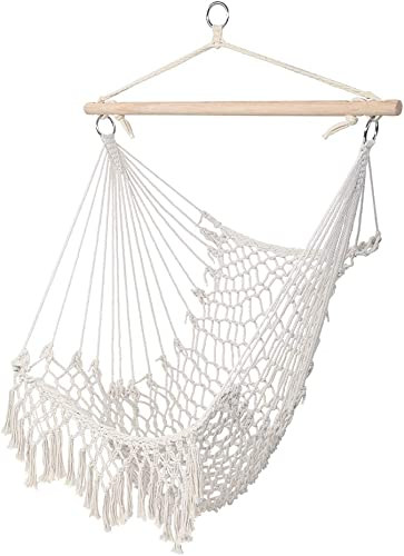 Knocbel Hammock Chair Hanging Cotton Rope Swing Seat for Indoor Outdoor, 250 Lbs Capacity Beige with Tassel