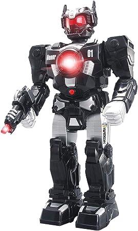 Amazon.es: YARMOSHI Robot De Juguete Andante Funciona con Batería Totalmente Giratorio De La Parte Superior del Cuerpo, Brazos Flexibles Sonidos De Batalla, Escudo Y Espada Extraíble