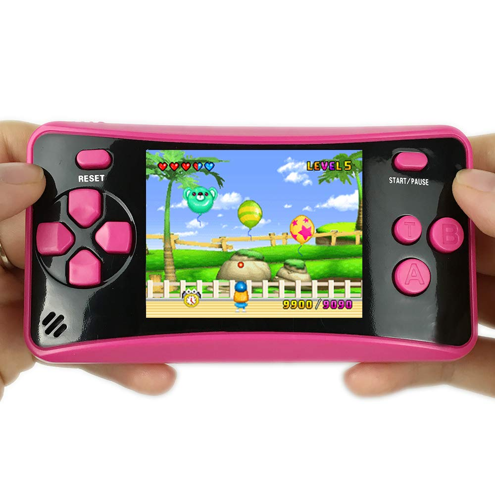 HigoKids Handheld Game Console for Kids Portable Retro Video Game Player Built-in 182 Classic Games 2.5 inches LCD Screen Family Recreation Arcade Gaming System Birthday Present for Children-Rose Red by HigoKids (Image #4)