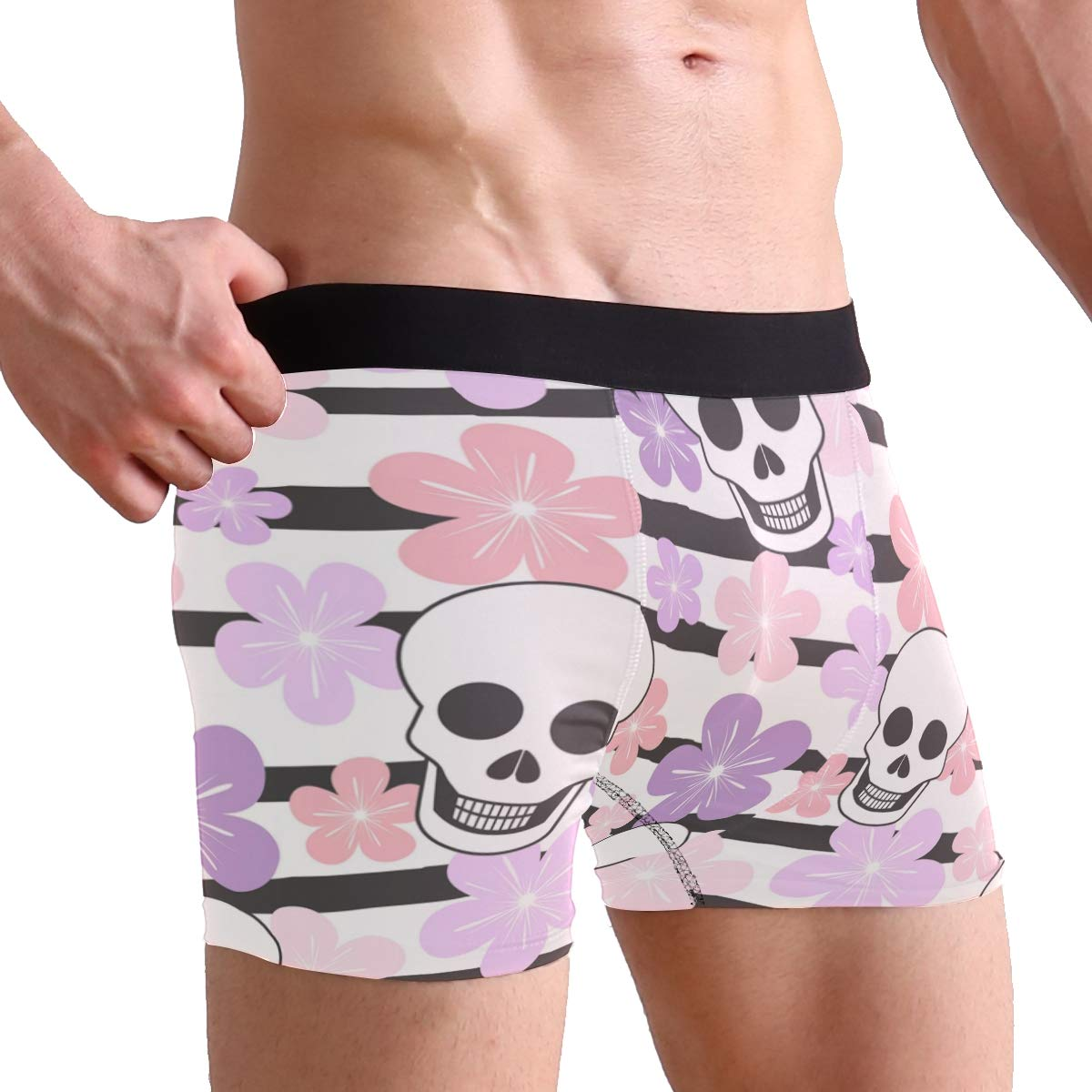 Mens Underwear Cute Skulls Colorful Striped Boys Boxer Brief