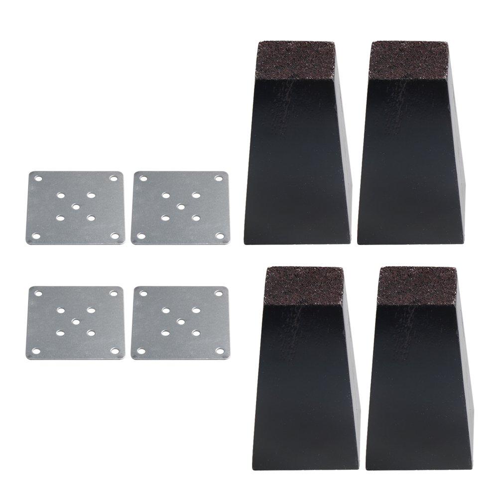 Mxfans 4PCS Black Pine Trapezium Sofa Leg Chair Couch Bed Lifter DIY 5x7.4x12cm blhlltd