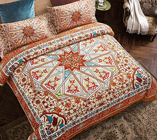 Wake In Cloud - Mandala Comforter Set Queen, 3-Piece Orange Bohemian Boho Chic Medallion Pattern Printed, gentle Microfiber Bedding (3pcs, Queen Size)