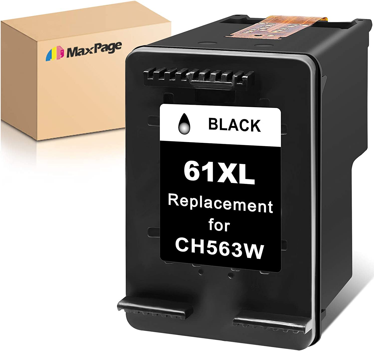 MaxPage Remanufactured Ink Cartridge Replacement for HP 61XL 61 XL Black to Use with Envy 4500 4502 5530 DeskJet 2512 1512 2542 2540 2544 3000 3052a 1055 3051a 2548 OfficeJet 4630 Printer, 1-Pack