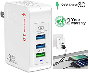 Quick Charge 3.0 USB Fast Wall Charger, 38W 3 Port Travel Wall Fast Charger Adapter QC3.0 QC2.0 Quick Charging Block Plug Compatible for iPhone XR/X/8/7/6/5 Samsung S8/S7/S6/Edge/Note LG, HTC (White)