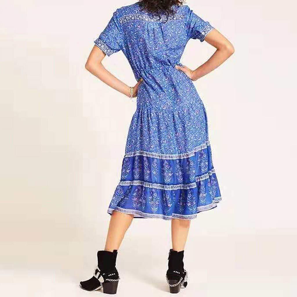 Beikoard Damen Kleid Sommerkleid Casual Boho Lang Maxi Kleid Kurzarm Bedruckt Abend Party Kleid Strandkleid
