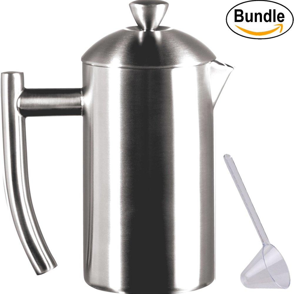 Frieling USA Double Wall Stainless Steel French Press Coffee Maker with Patented Dual Screen & Zonoz One-Tablespoon Plastic Clever Scoop (8-Ounce, Brushed Stainless Steel) by Frieling