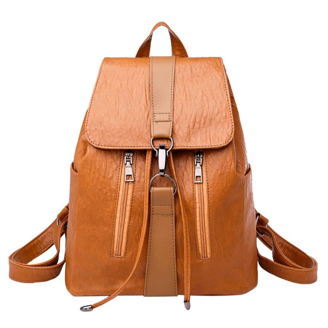 Fashion School Bag,Women Girl Casual Vintage Pure Color Zipper School Bag Mini Leather Backpack Satchel Travel Shoulder Bag (Brown)