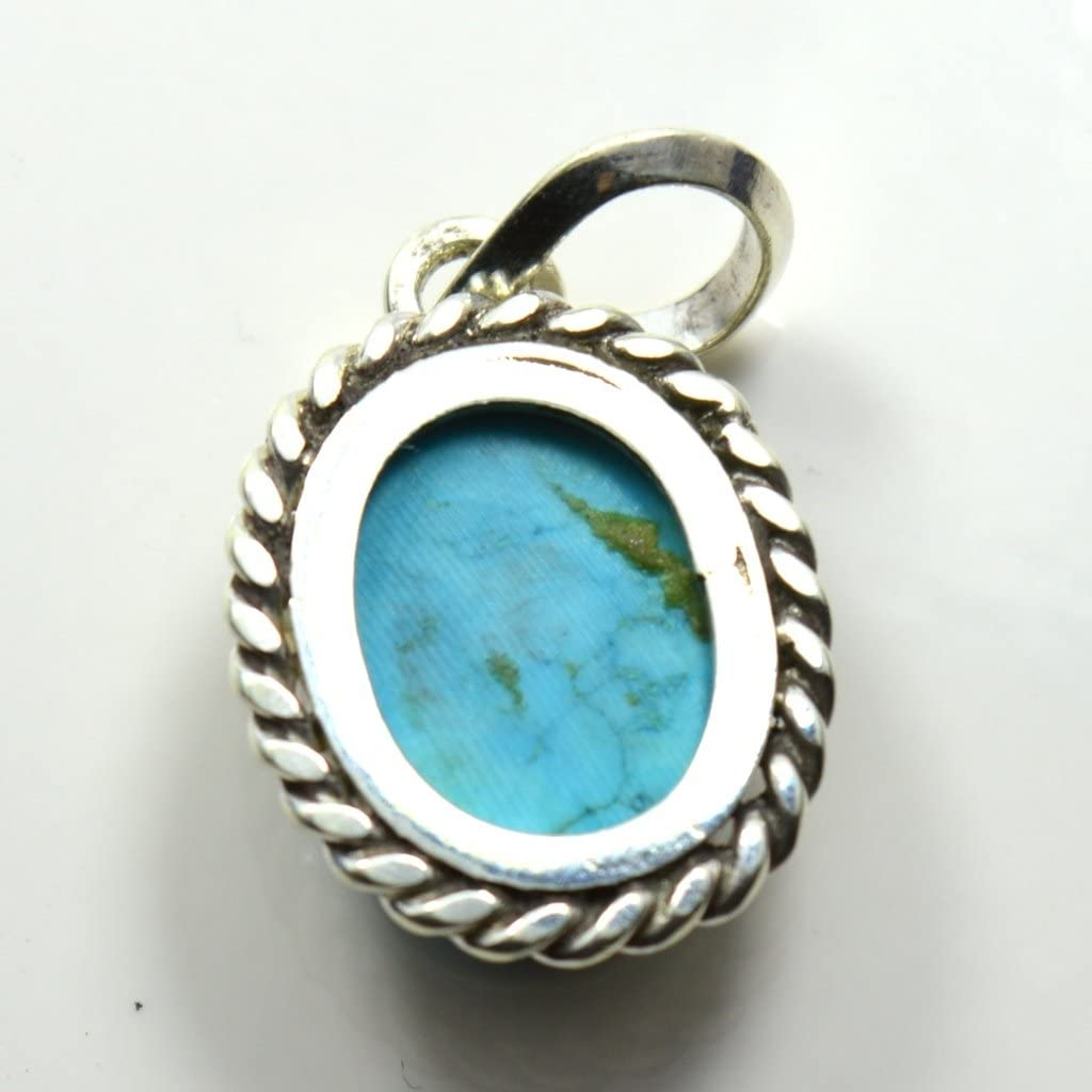 55/carats Turquoise Pendentif 9/carats v/éritable ovale 92.5/Argent sterling Colliers