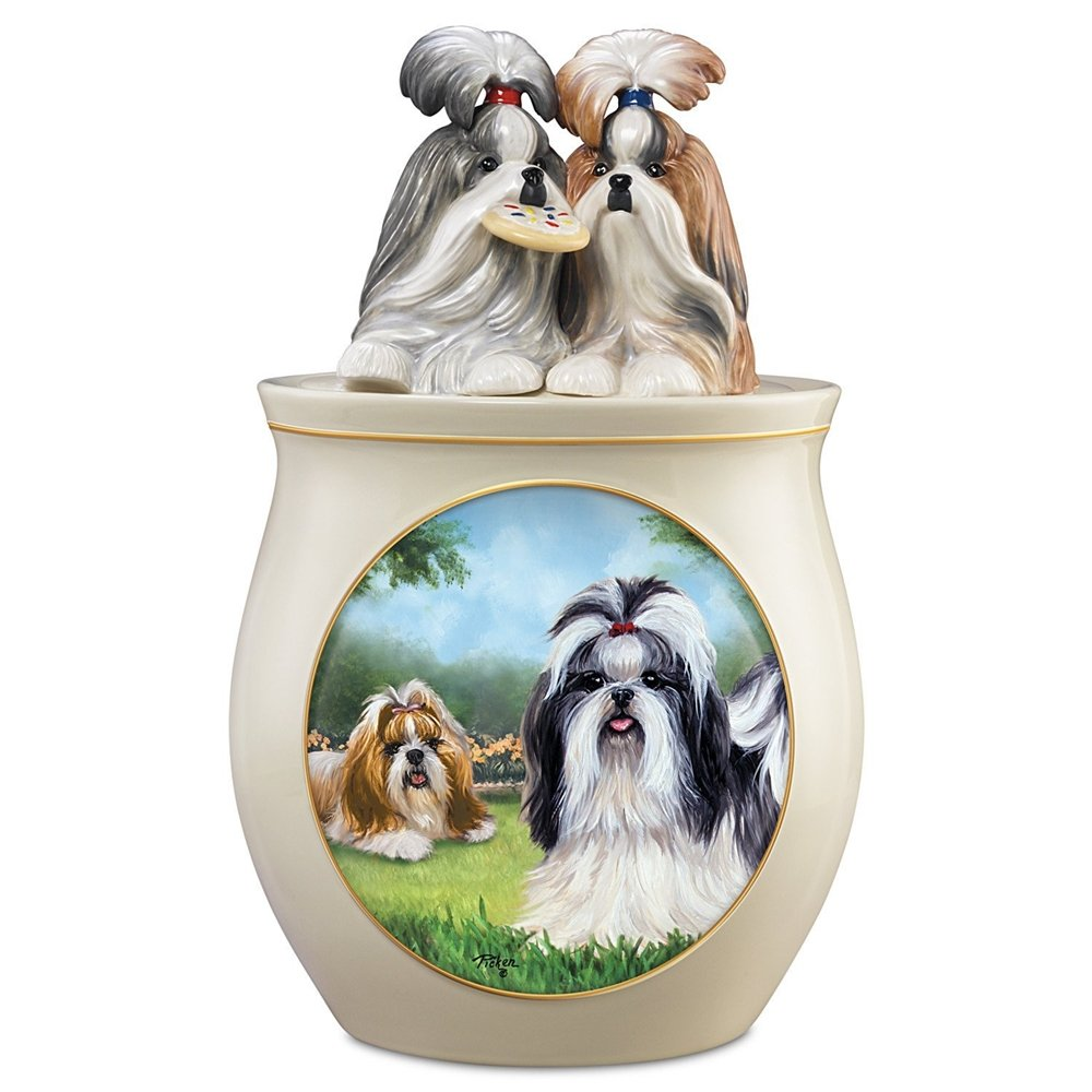 The Bradford Exchange Shih Tzu Art Collectible Ceramic Cookie Jar By Linda Picken