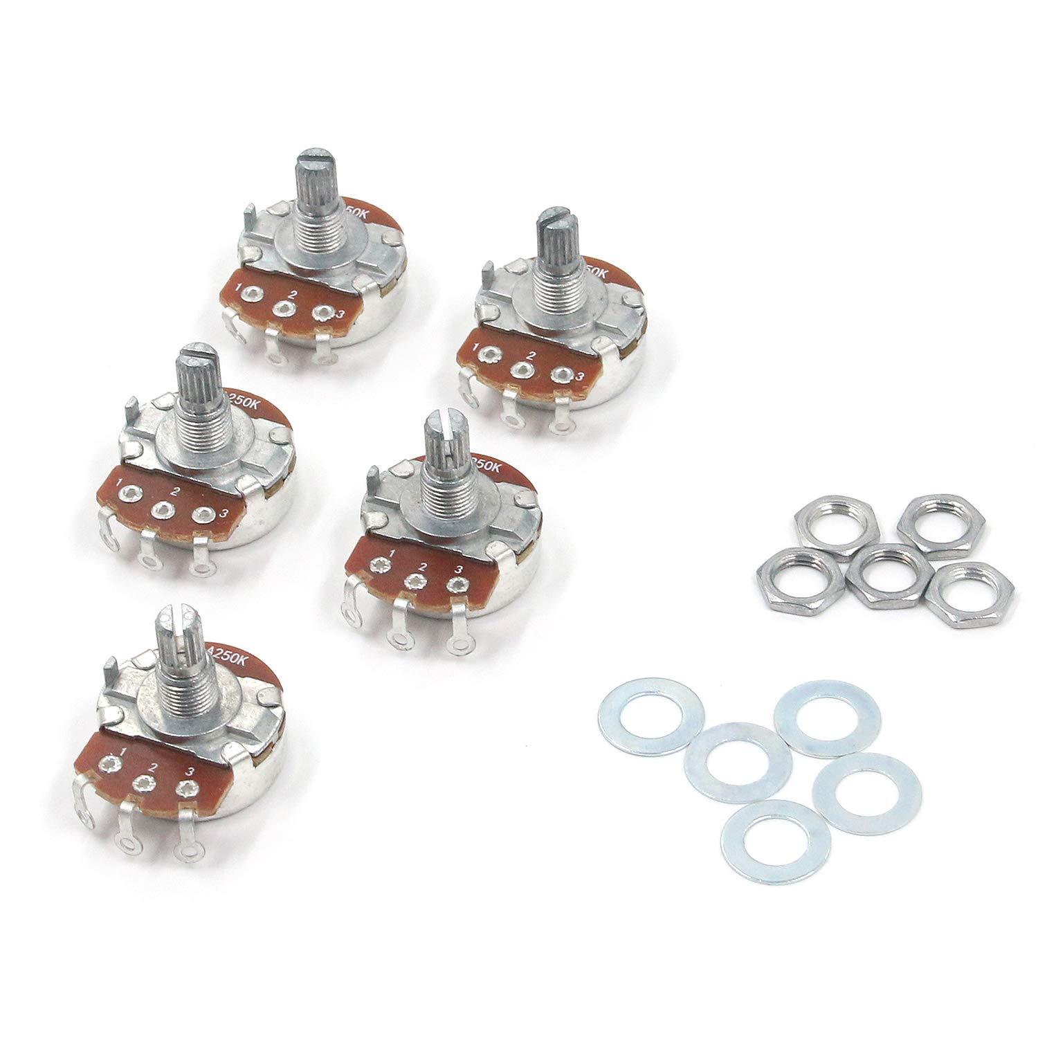 with Nut and Washer for Electric Bass or Guitar Geesatis 5 PCS Split Shaft Audio Taper Low Friction Potentiometers B250K Silver Short Shaft Audio Potentiometers