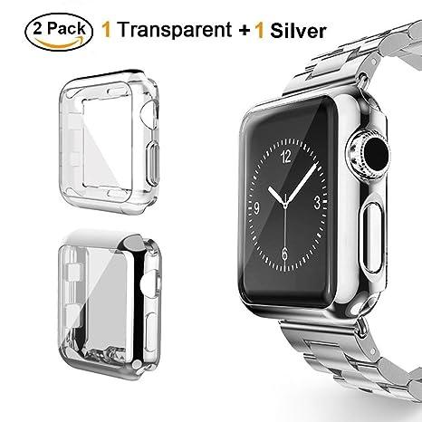 Tervoka Apple Watch Funda 38 mm, Protector de Pantalla Completo TPU Suave Cubierta Parachoques Protectora Carcasa para Apple iWatch Serie 3, Serie 2, ...