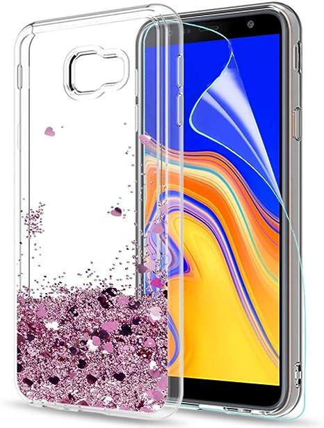 LeYi Coque Galaxy J4 Plus Etui avec Film de Protection écran, Fille Personnalisé Liquide Paillette Transparente 3D Silicone Gel Antichoc Kawaii Étui ...