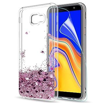 f80e1549b82 LeYi Compatible with Funda Samsung Galaxy J4 Plus Silicona Purpurina Carcasa  con HD Protectores de Pantalla