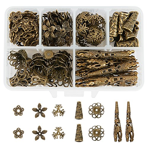 PandaHall Elite About 180 Pcs Tibetan Style Metal Flower Bead Caps 6 Styles Jewelry Making Antique Bronze ()
