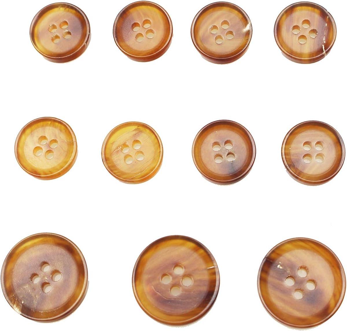 11 Pieces Genuine Natural Horn Blazer & Suits Button Set - for Blazer, Sport Coat, Uniform, Jacket (Light Brown)