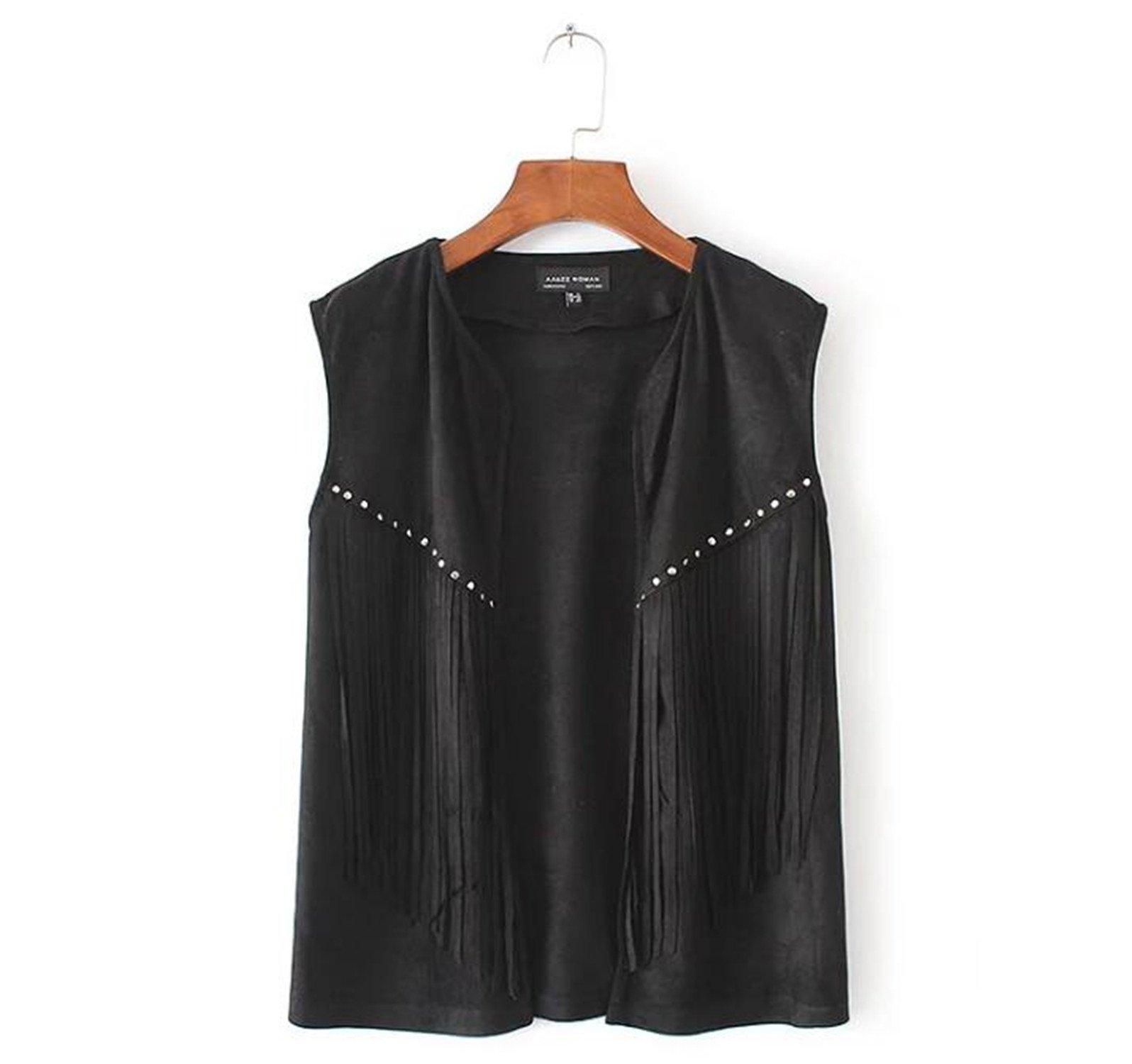 Kongsta Women Brown Black Color Fringe Tassel Vest 80'S Boho Hippie Street Style Suede Vests Ladies Fashion Suede Waistcoat