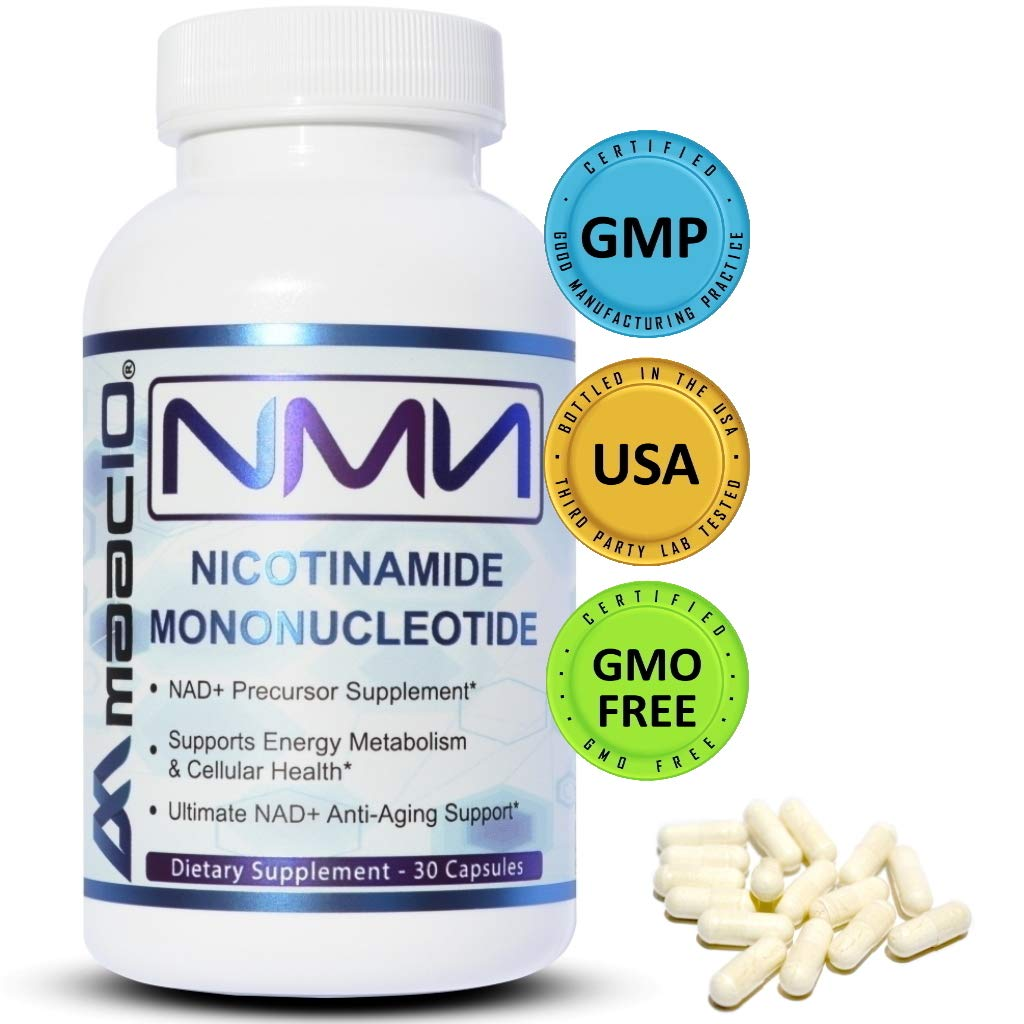 MAAC10 NMN Nicotinamide Mononucleotide Supplement (125mg Capsules). The Most Powerful NAD+ Precursor More Stable Than Riboside. Supports DNA-Repair, Sirtuin Activation and Energy (30 Count).