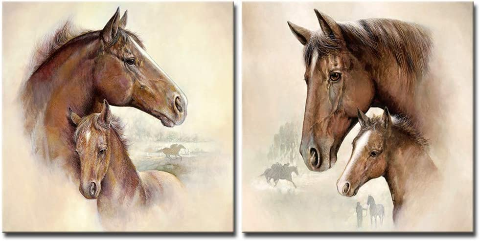 DekHome Funny Animals Canvas Wall Art Lovely Horses Family Painting Giclee Prints Wall Decor Framed Picture Contemporary Art for Nursery Decoration