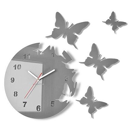 Orologio da parete salotto tondo moderno FARFALLE grigio silenzioso 30 cm,  made in EU