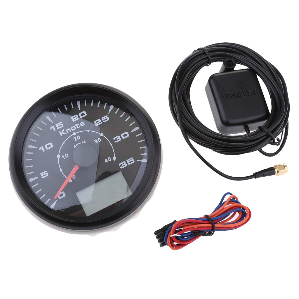 Homyl 3-3/8 inch 85mm 8 Backlight Universal GPS Speedometer 0-35Knots 0-40MPH GPS Speed Odometers Gauges Indicators for Boat Yacht - Black Dial Bezel