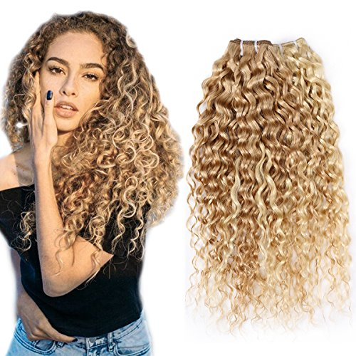 FASHION LINE Brazilian P27/613 Water Wave Curly Blonde Human Hair Extensions Unprocessed Human Hair Bundles Weft 1PC 100g (NEW 18