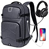 Travel Laptop Backpack for Men & Women Large, College Backpack Water Resistant Work Business School Travel Backpack with USB Charging Port & Headphone interface Fits Under 17'' Laptop (Dark Grey)