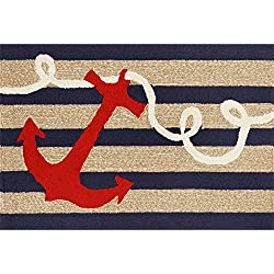 "Liora Manne FT123A49833 Whimsy Ship Ahoy Rug, Indoor/Outdoor, 24"" x 36"", Navy"