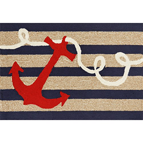 """Liora Manne FT123A49833 Whimsy Ship Ahoy Rug, Indoor/Outdoor, 24"""" x 36"""", Navy"""