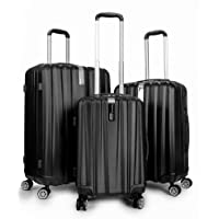 Deco Gear Travel Elite Series 3 Piece Hardside Spinner Luggage Set (Black)