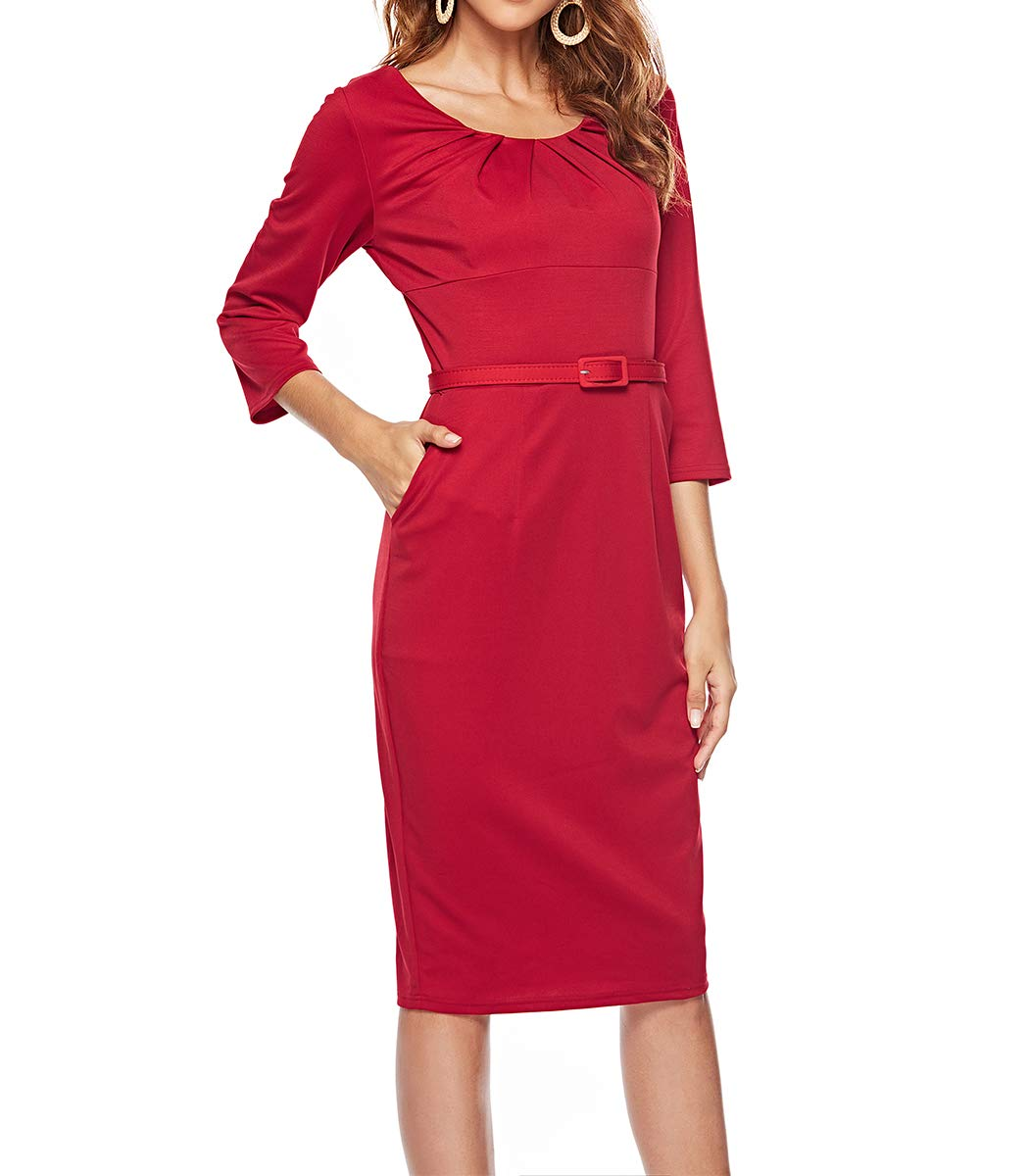 CEASIKERY Women's 3/4 Sleeve Vintage Pleated Business Wear to Work Pencil Dress 48