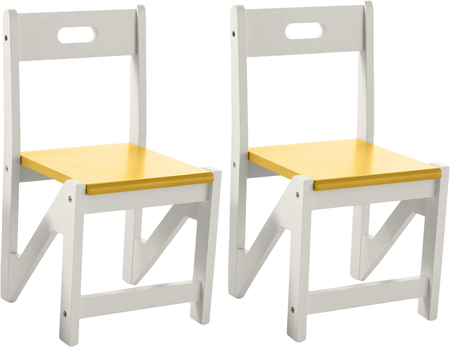 Amazon Com Lipper International Kids Zigzag Stacking Chairs For Play Or Learning 12 5 W X 12 5 D X 23 75 H Set Of 2 Yellow White Toys Games