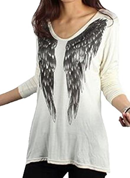 BESTHOO T-shirt Mujeres Cuello v Manga Larga Moda T-Shirt Impreso Top Suelto