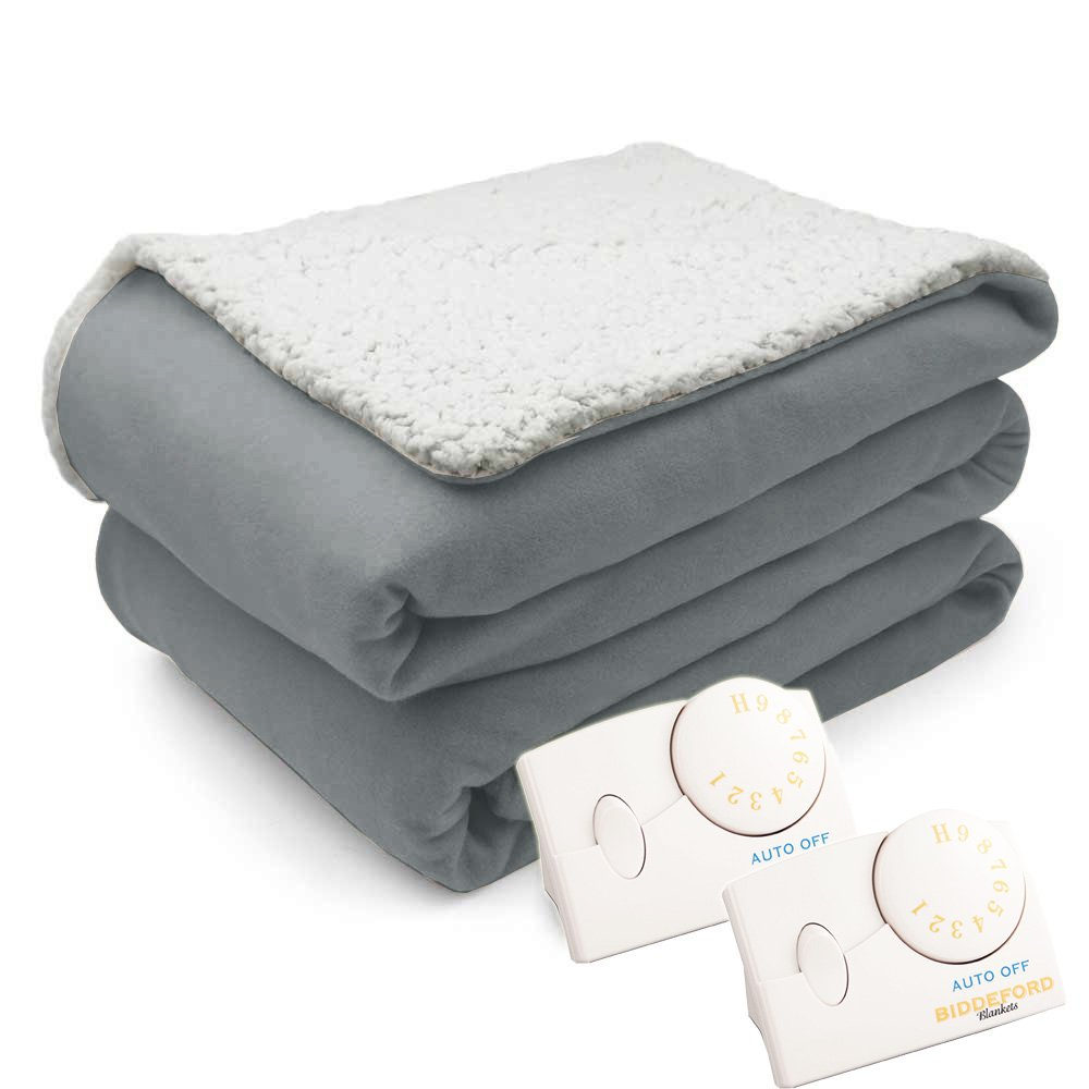 Pure Warmth Comfort Knit Natural Sherpa Electric Heated Blanket King Gray