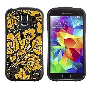 Suave TPU GEL Carcasa Funda Silicona Blando Estuche Caso de protección (para) Samsung Galaxy S5 / CECELL Phone case / / Yellow Gold Pattern White /