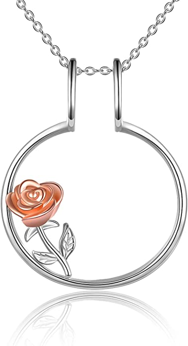 Ring Keeper Love charm necklace 18 with extension black faux leather cord ring size 6.5