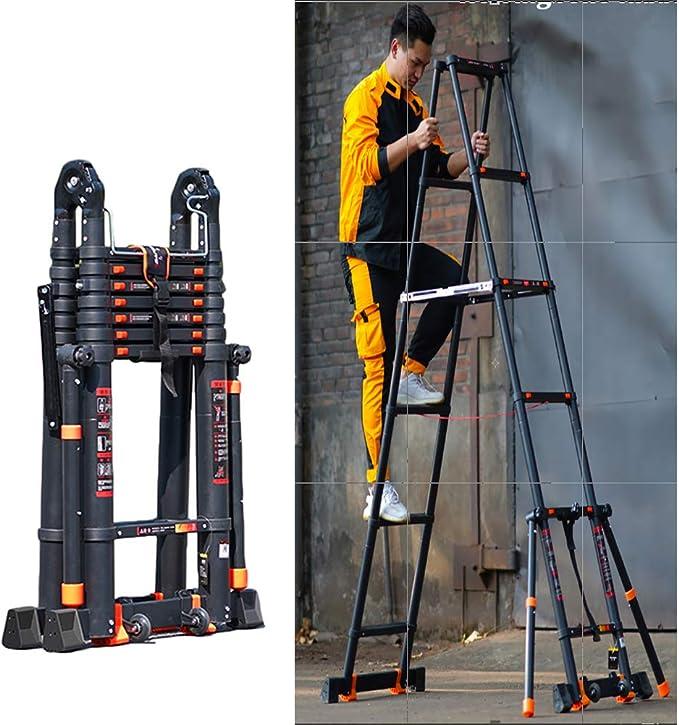 Escalera Telescópica/Escaleras Extensibles Escalera De Servicio Pesado Telescópico Con Anti-barra Estabilizadora, Multiuso De Aluminio Escaleras De Extensión For La Construcción De Mantenimiento De Br: Amazon.es: Bricolaje y herramientas