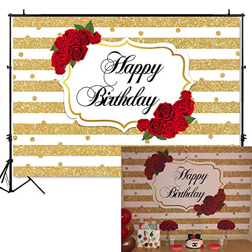 Mehofoto Red Rose Happy Birthday Backdrop Gold Stripes Dots Birthday Photography Background 7x5ft Vinyl Women Birthday Party Banner Backdrops