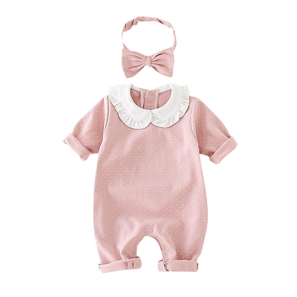 Baby Pan Collar Romper Jumpsuit for 0-18 Months Long Sleeve Polka Dot Bodysuit Onsies Headband Outfits Clothes