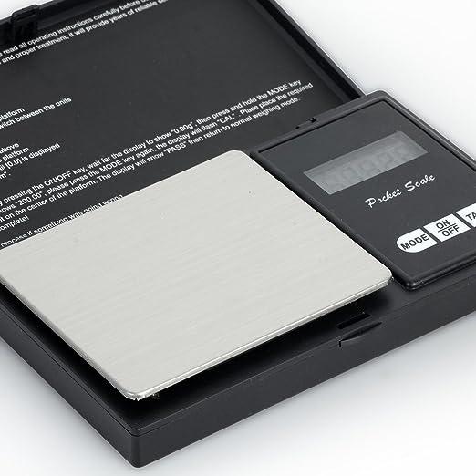 Báscula digital de bolsillo - 200 x 0,01 g - negro (pilas incluidas): Amazon.es: Bricolaje y herramientas