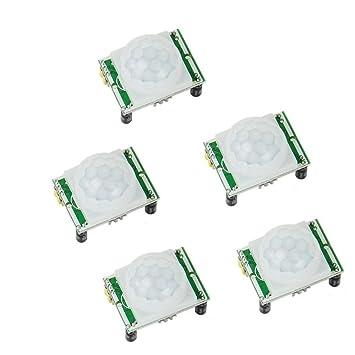 Solu 5 piezas piroeléctricos infrarrojos módulo Sensor de movimiento PIR Detector HC-SR501 Arduino/