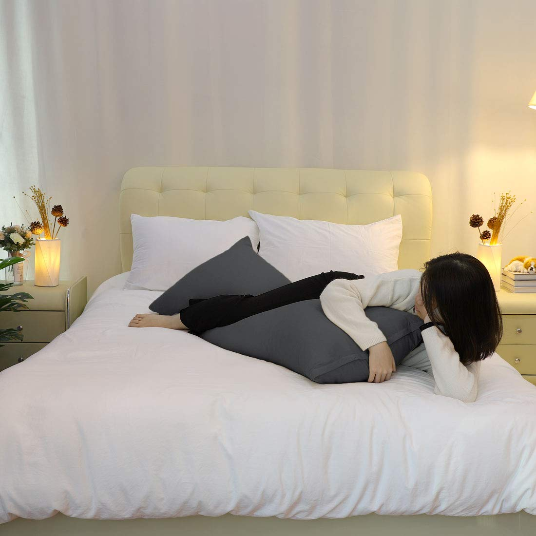 uxcell Brown Body Pillow Cases with Zipper Soft 1800 Series Microfiber 20x48 Full Bolster Pillow Cover