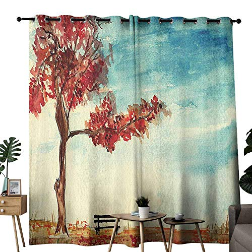 Mannwarehouse Farm House Decor Novel Curtains Watercolors Design of A Tree and Bench Earth Ecological Protection for Future Image for Living, Dining, Bedroom (Pair) W84 x L96 Ruby Sky Blue