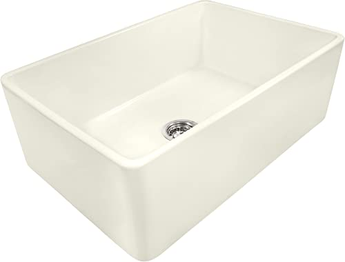 Ruvati 33 x 20 inch Fireclay Reversible Farmhouse Apron-Front Kitchen Sink Single Bowl – Biscuit – RVL2300BS