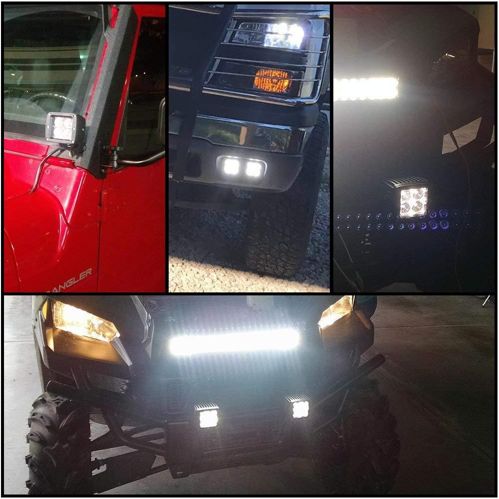 Amazon.com: LED Light Bar TURBOSII 4PPC 16W 3Inch Spot Cube LED Work Light Pod Offroad Light Led Fog Light Truck Light Driving Light Boat Light for Truck ...