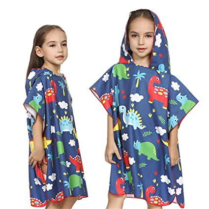 Toalla con capucha para niños Dinosaurio Impreso Lindo Con Capucha Poncho Toalla Ultra Suave Playa Piscina