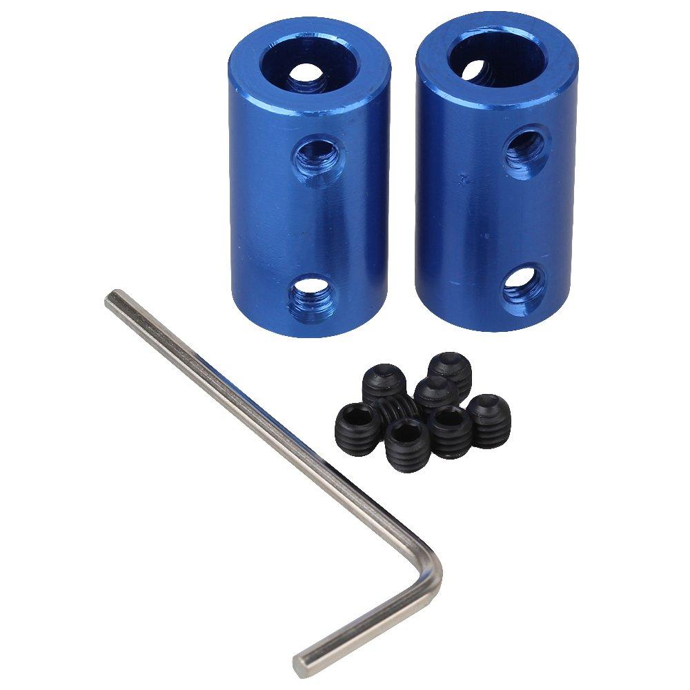 Lot de 2 Bleu 8 x 8 mm Moteur Gear Connexion Tige en alliage d'aluminium solide rigide Raccord coupleur ZIJIA