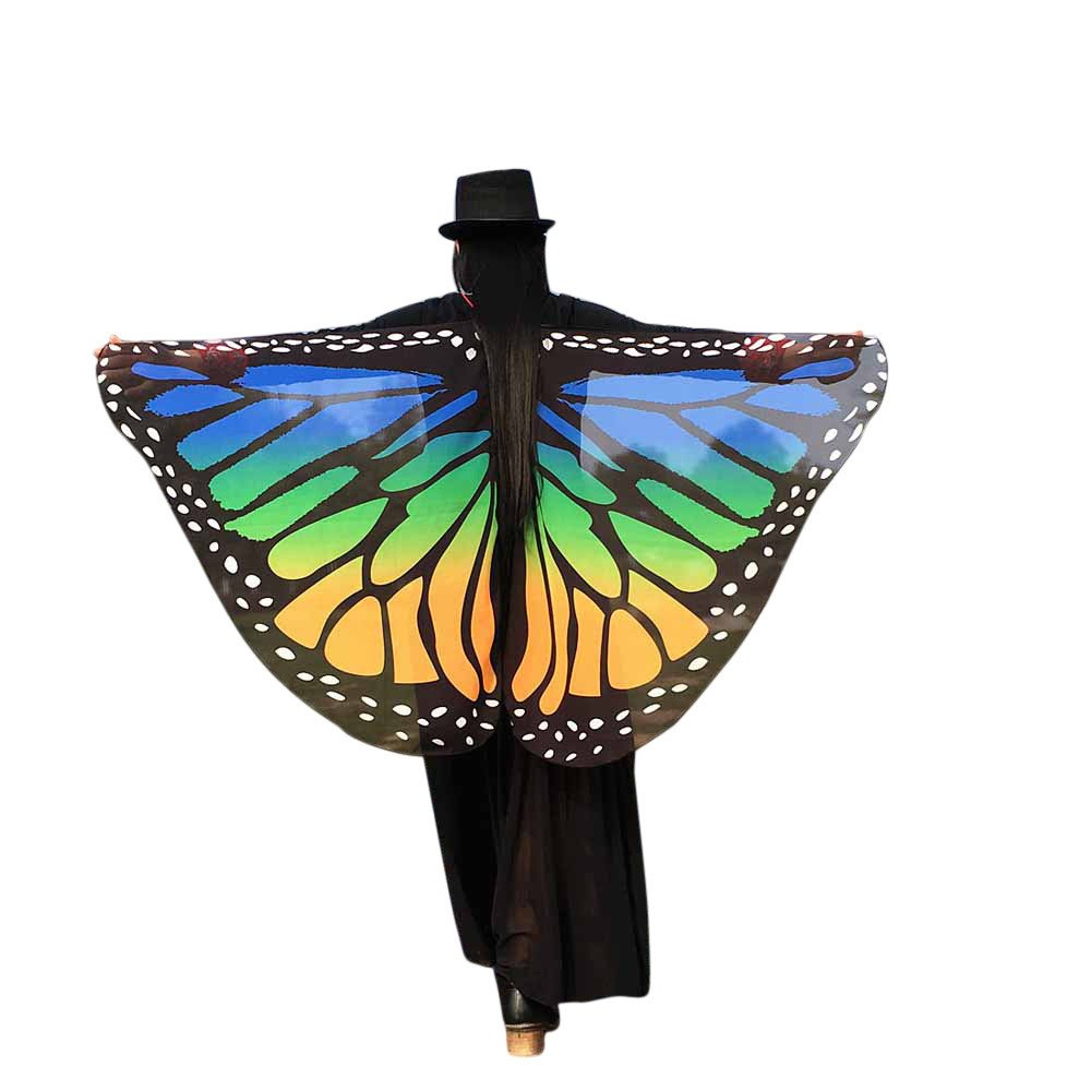 WOCACHI Christmas Halloween Costume Butterfly Wings Scarves, Women Cloak Cape Poncho Pixie Party Show Festival Ladies Dress Up Accessory
