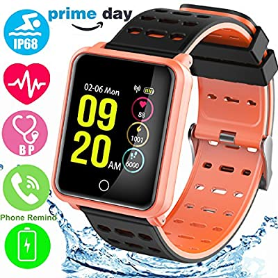 "1.3"" Color Touchscreen Sport Fitness Tracker with Blood Pressure Heart Rate Monitor IP68 Waterproof Pedometer Unlock Smartwatch for Kid Men Women Swim Run GPS Activity Tracker iOS Android Prime Deal"