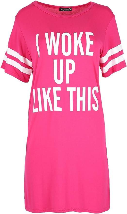 Womens Stripes T Shirt Ladies Cap Sleeve I Woke Up Like This Baggy Shift Dress